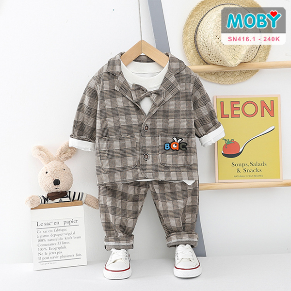 SN416.1 - Set áo vest, áo thun kèm nơ & quần cho bé