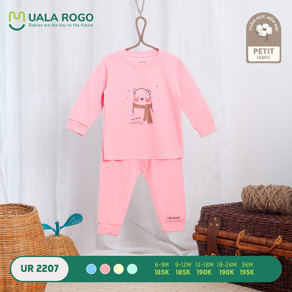 UR2207.2 - Bộ quần áo dài tay hình gấu vải petit Uala Rogo - Màu hồng