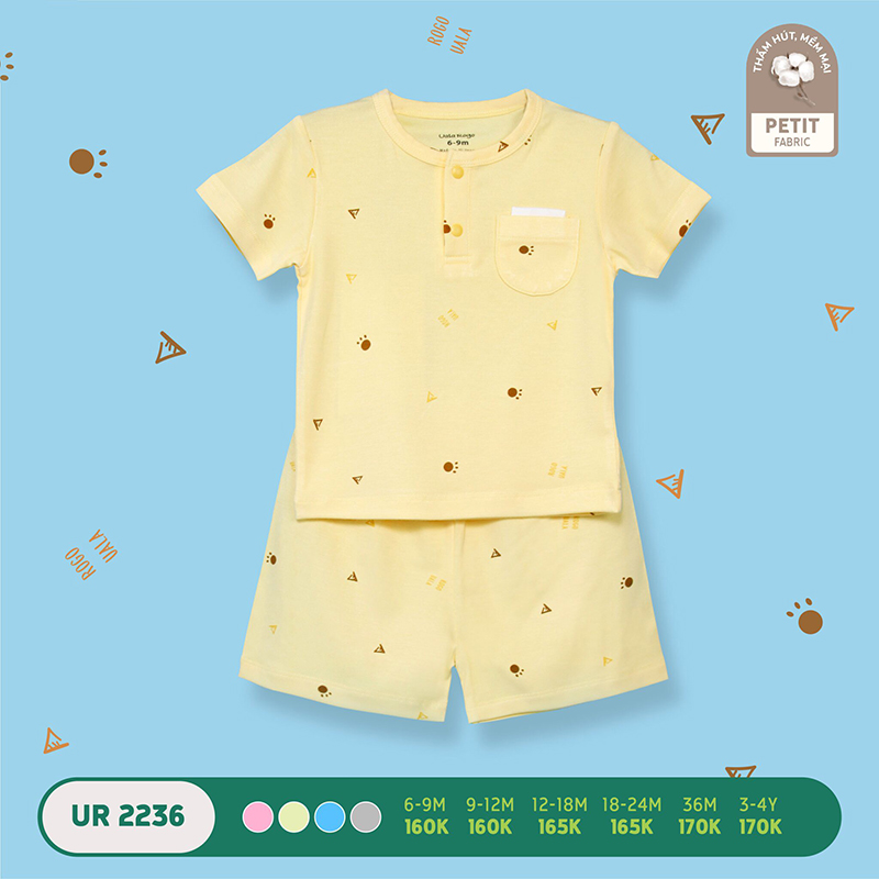 UR2236.3 - Bộ quần áo Uala Rogo cộc tay vải petit - Màu vàng