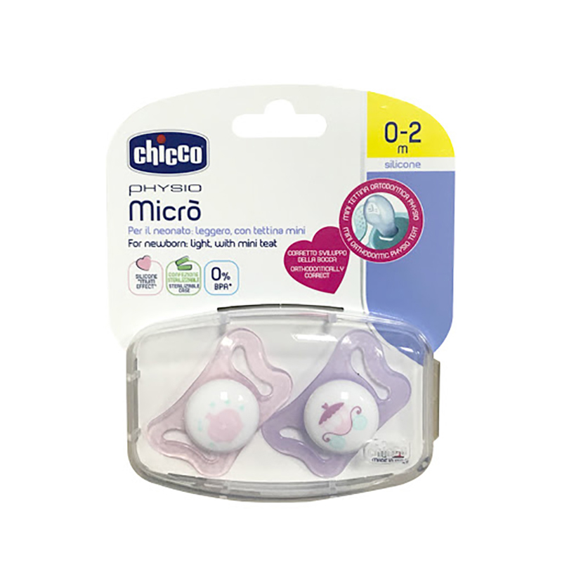 Bộ 2 ty ngậm chuyên biệt cho trẻ sơ sinh chicco Micro Công Chúa Nhí