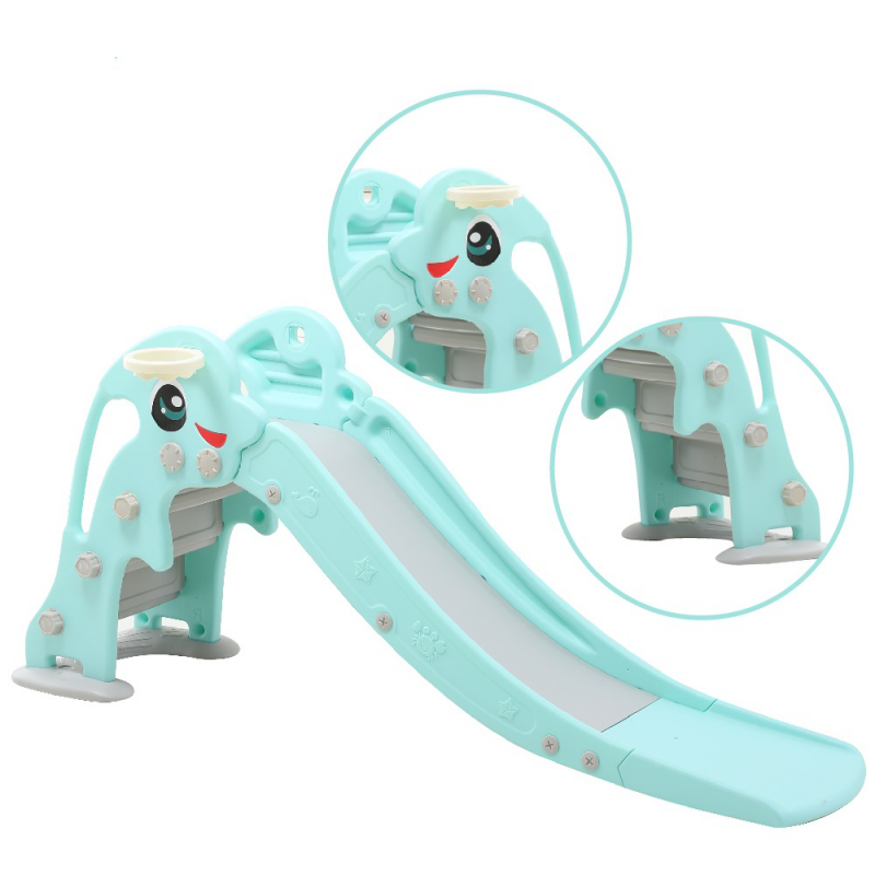 Cầu trượt cho bé Toyshouse hình cá heo, có kèm khung bóng rổ HT01- Kích thước 175*42*81 - Màu xanh ngọc