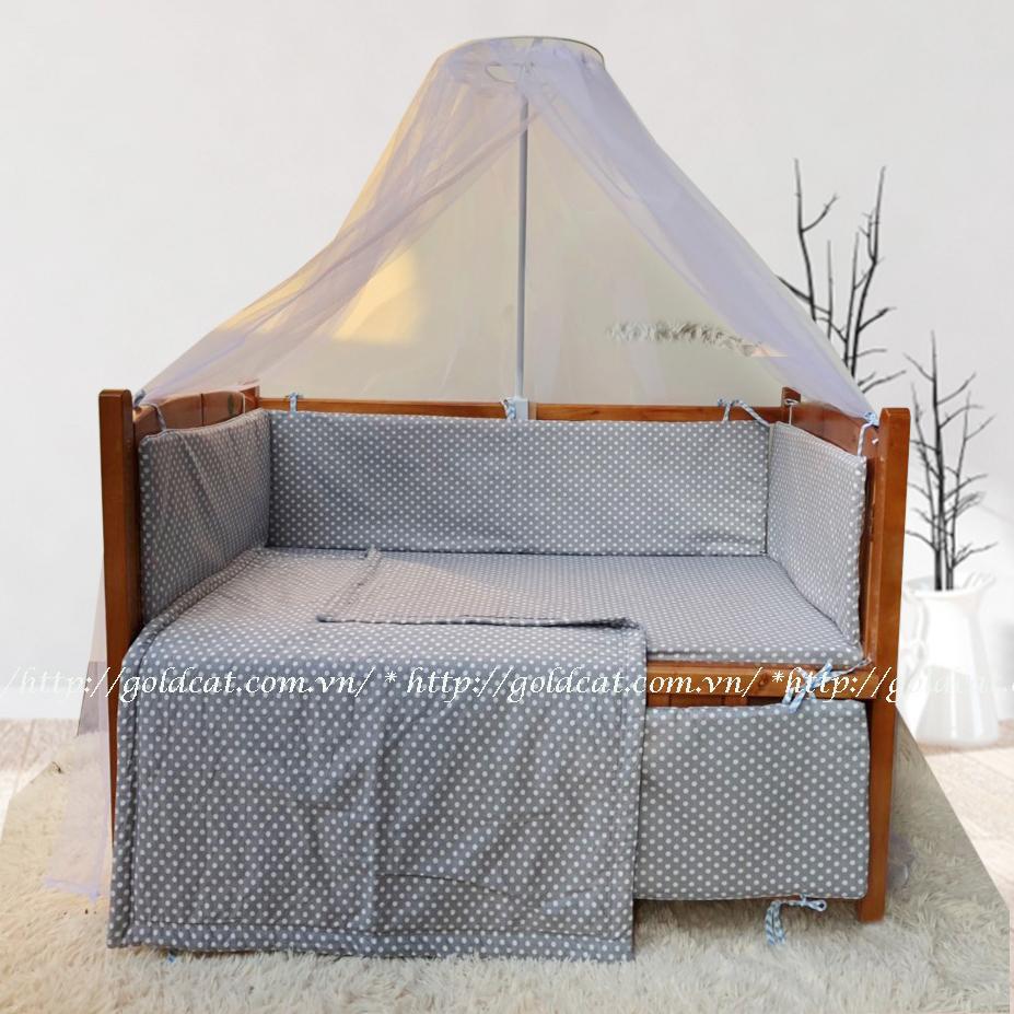 Combo cũi giường Cánh Gián GoldCat (Chấm Bi Ghi, Không bánh xe)
