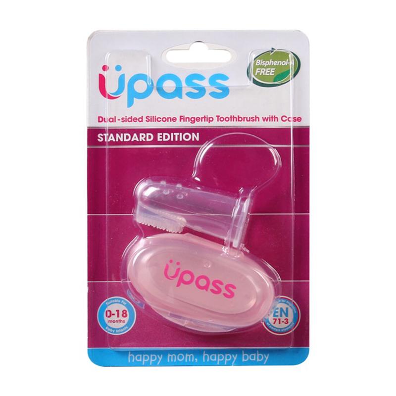 Rơ lưỡi xỏ ngón silicone siêu mềm Upass kèm hộp đựng màu hồng