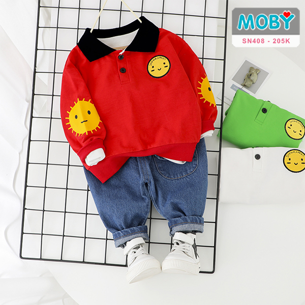 SN408 - Quần Jeans, áo thun dài tay cho bé
