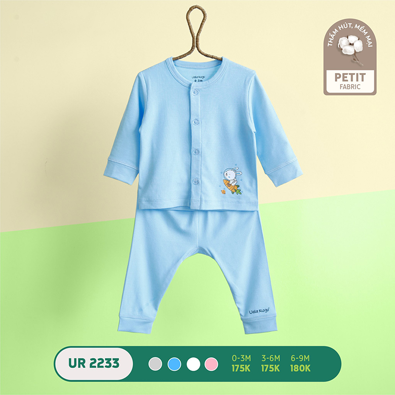 UR2233.3 - Bộ quần áo Uala Rogo dài tay cài giữa vải petit - Màu xanh