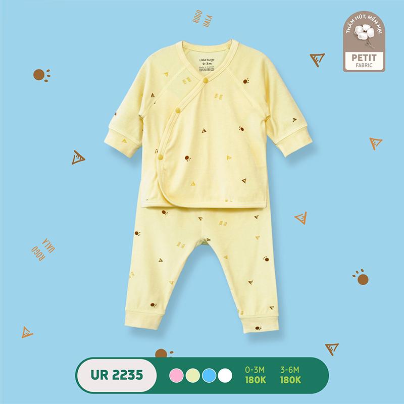UR2235.3 - Bộ quần áo Uala Rogo dài tay cài chéo vải petit - Màu vàng