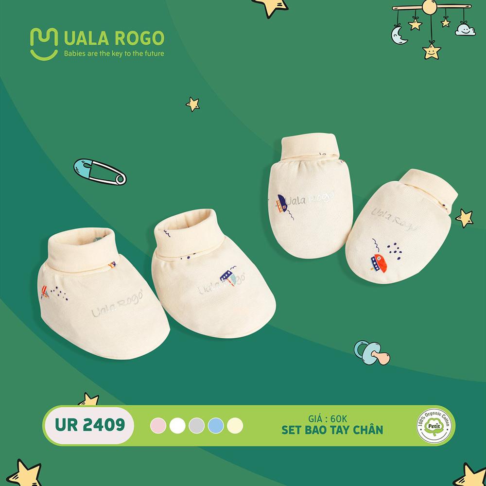 UR2409.5 - Set bao tay bao chân sơ sinh vải petit Uala Rogo - Màu kem