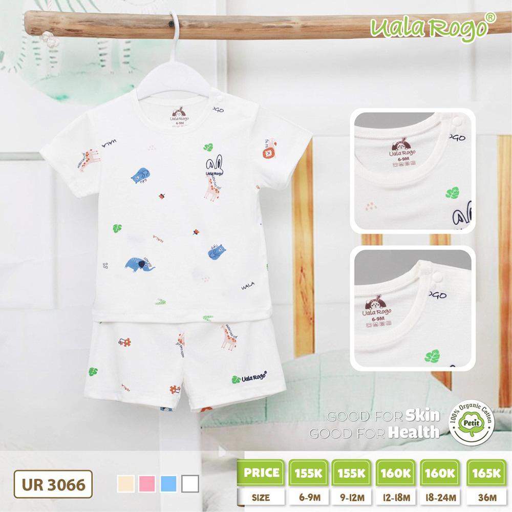 UR3066.3 - Bộ cộc tay cài vai cho bé Uala Rogo - Màu trắng