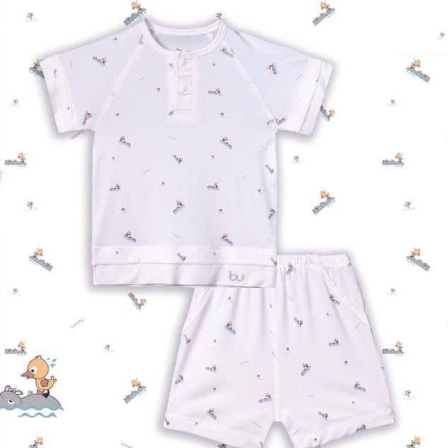 BB032.White- Bộ áo cổ trụ cộc tay quần đùi - Bu