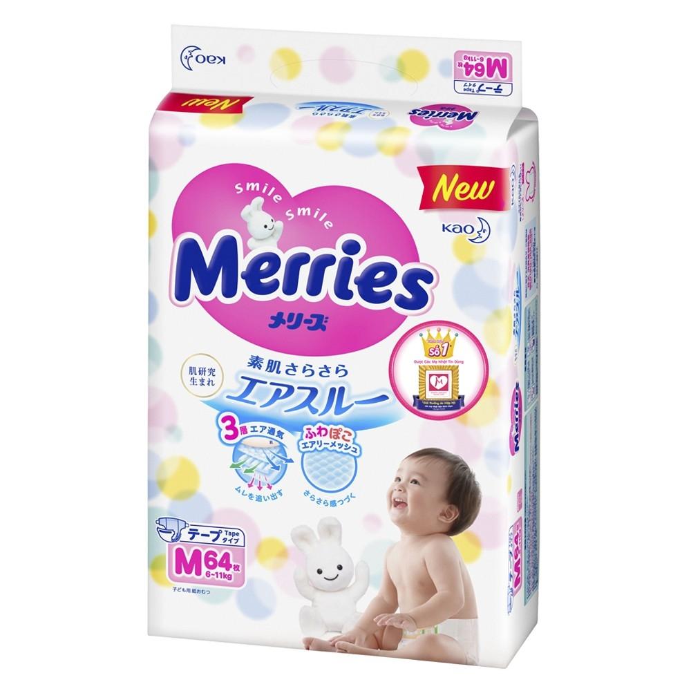 Bỉm - Tã dán Merries size M - 64 miếng (cho bé 6 - 11kg)