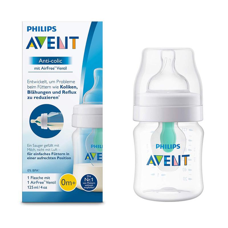 Bình sữa Philips Avent giảm đầy hơi với van giữ sữa AirFree™ SCF810/14 - 125ml