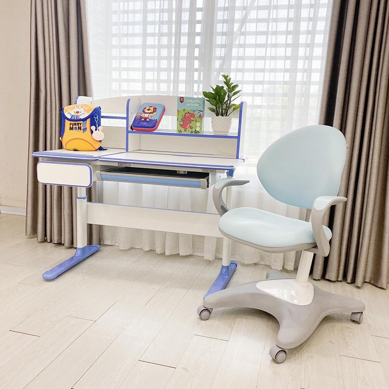 Bộ bàn ghế chống gù chống cận xuất Hàn Luxury màu xanh