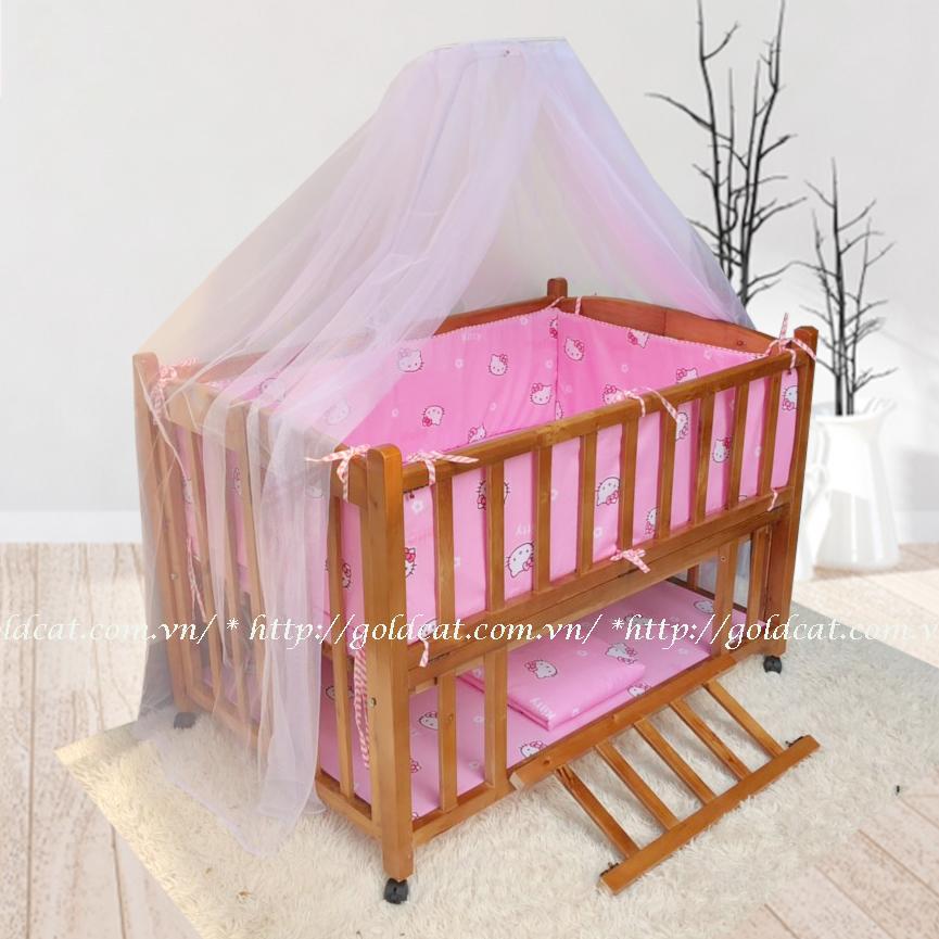 Combo cũi giường 2 giát GoldCat (Hồng kitty, Sơn Cánh Gián)