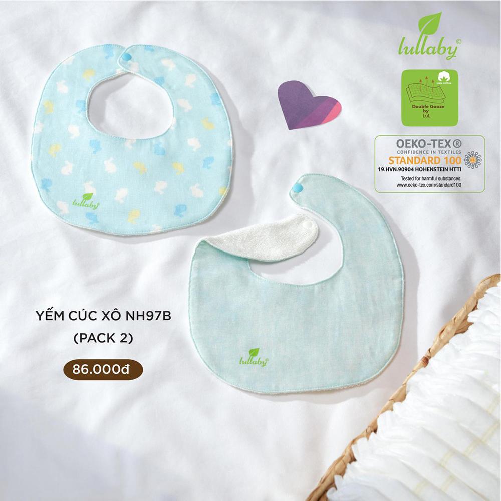 NH97B.3 - Set 2 yếm sơ sinh cúc bấm vải xô Lullaby màu xanh thỏ