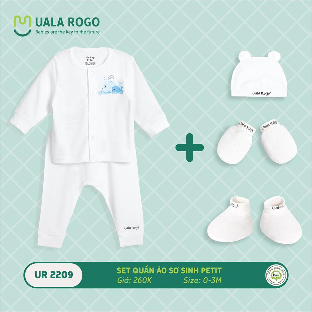UR2209.1 - Set quần áo sơ sinh vải petit Uala Rogo - Màu trắng họa tiết cá heo