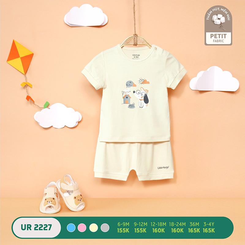 UR2227.3 - Bộ quần áo Uala Rogo cộc tay in hình bé cún vải petit - Màu kem