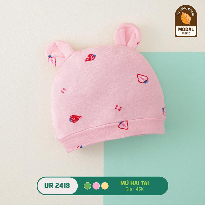 UR2418.2 - Mũ sơ sinh Uala Rogo hai tai vải sợi sồi - Màu hồng