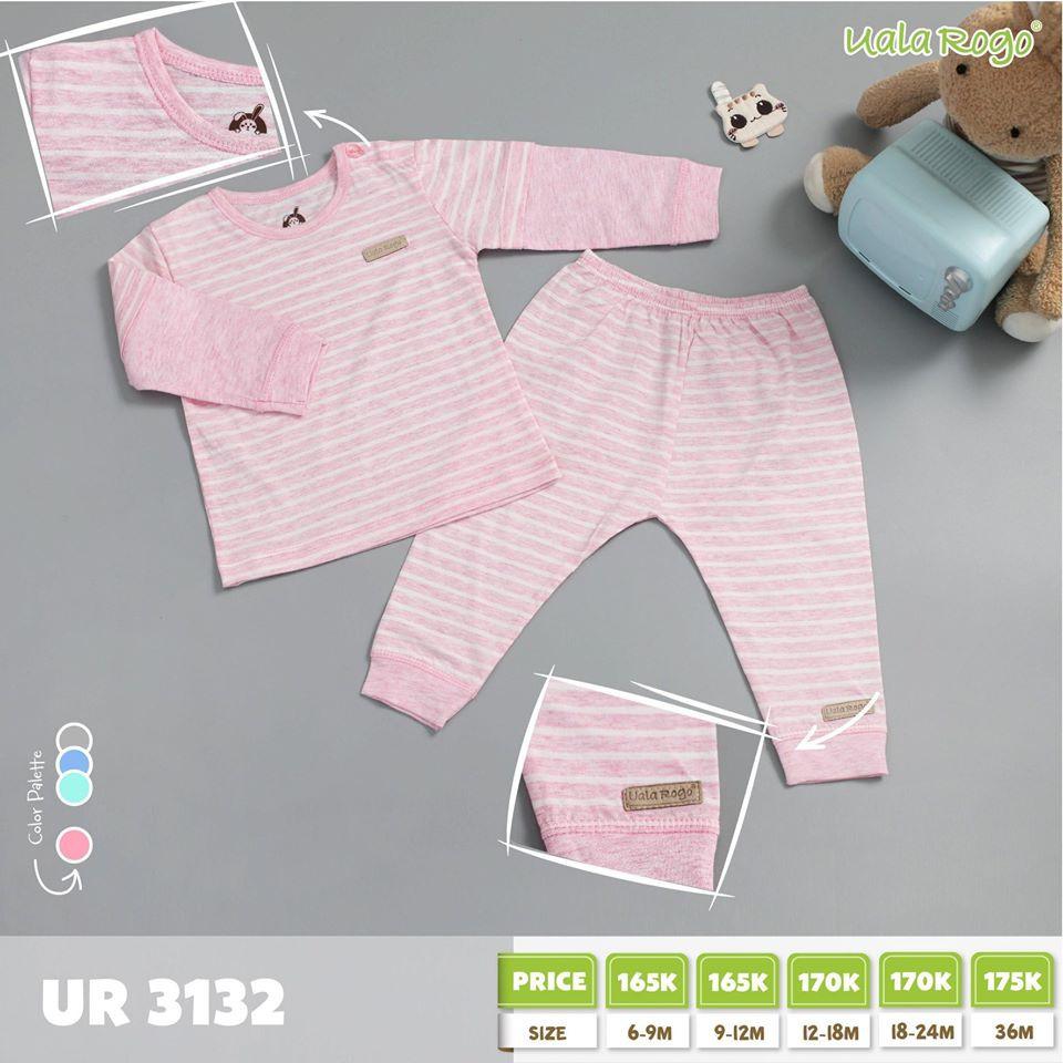 UR3132.2 - Bộ sọc ngang cho bé - Màu hồng