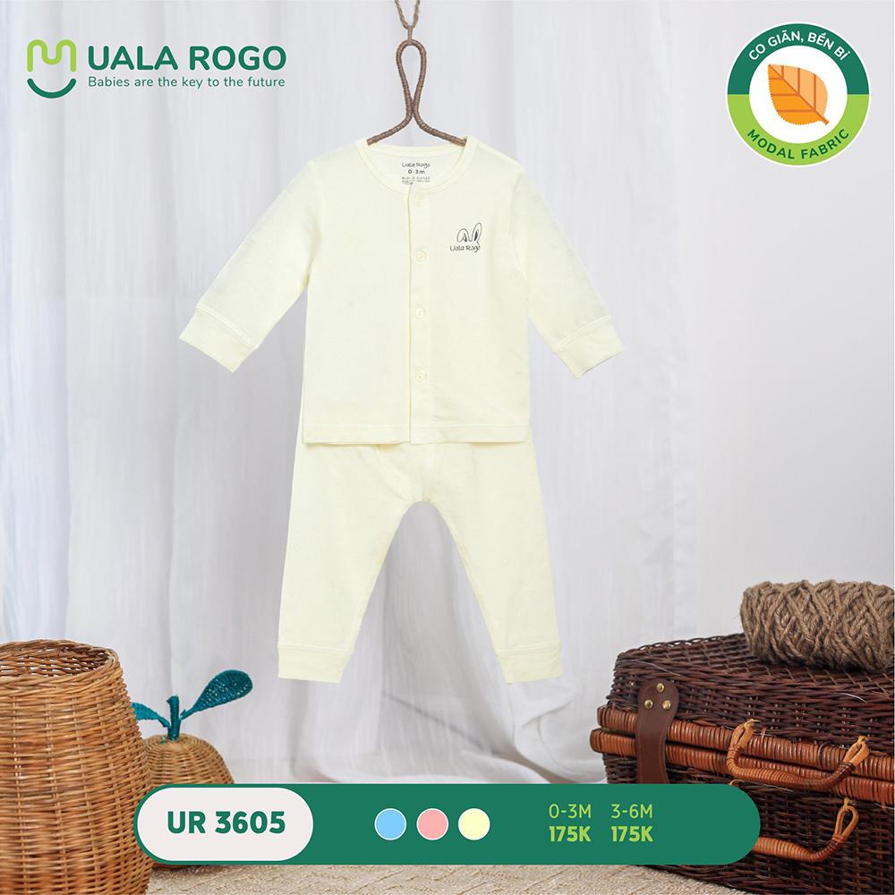 UR3605.2 - Bộ dài tay cài giữa vải sồi Uala Rogo - Màu vàng