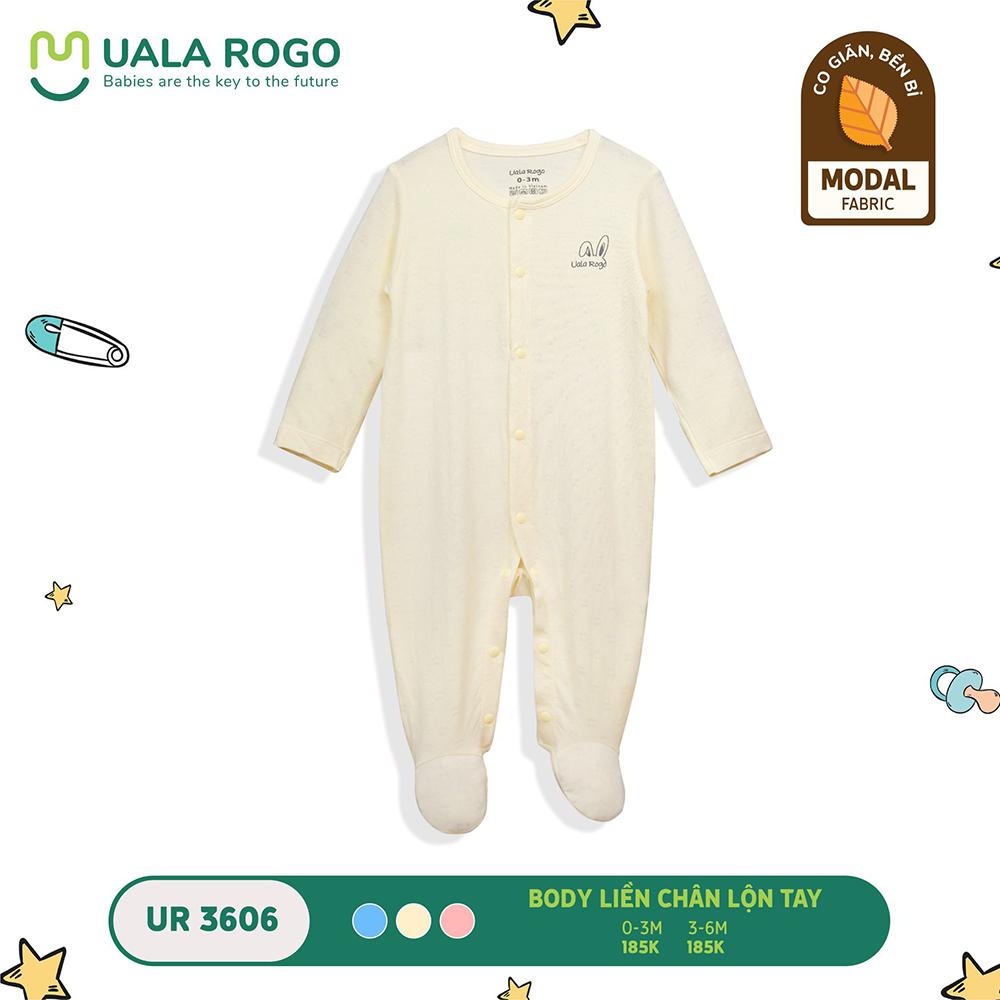 UR3606.2 - Bộ body dài liền chân lộn tay vải sợi sồi Uala Rogo - Màu vàng