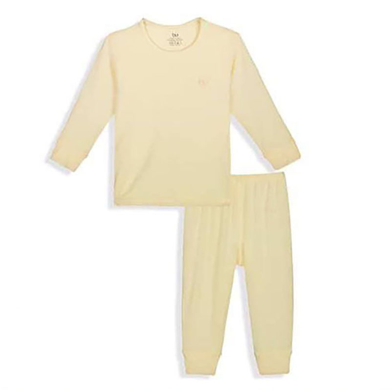BB001.Yellow-Bộ dài tay cài vai quần dài BU