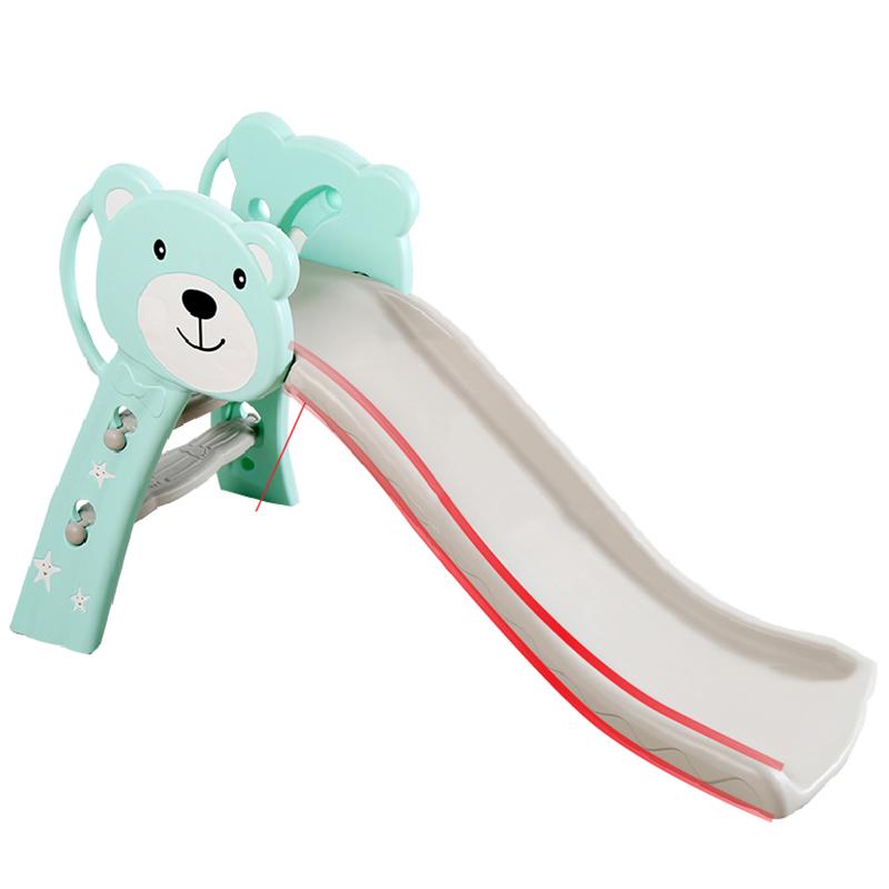 Cầu trượt cho bé Toyshouse hình gấu HT04 - Kích thước 133*41*75cm - Màu Xanh Ngọc