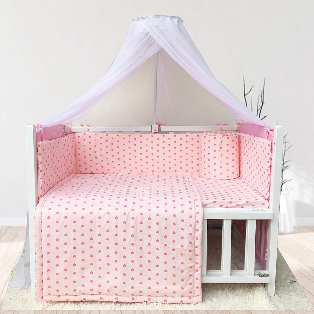 Combo cũi giường sơn Trắng Hồng GoldCat (Trái tim hồng, Không bánh xe)