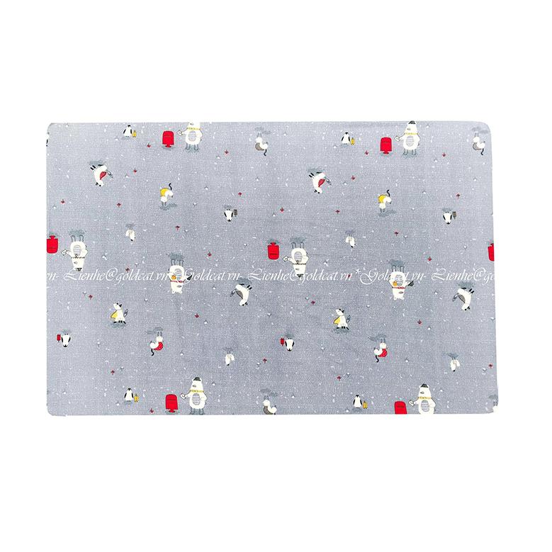 Ga vải bọc đệm cũi cho bé- Chất liệu Thô lụa (72x110, Nhiều con vật)