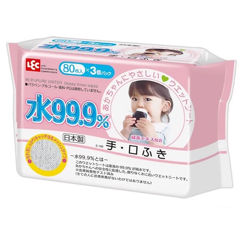 Giấy ướt LEC tinh khiết 99,9% E166 cho tay và miệng 80 tờ x 3 gói