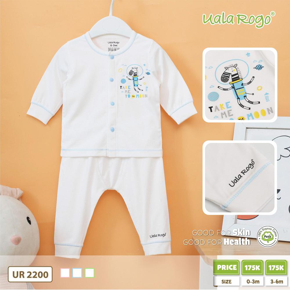 UR2200.2 - Bộ trắng dài tay cho bé vải Petit Uala Rogo - Nút xanh