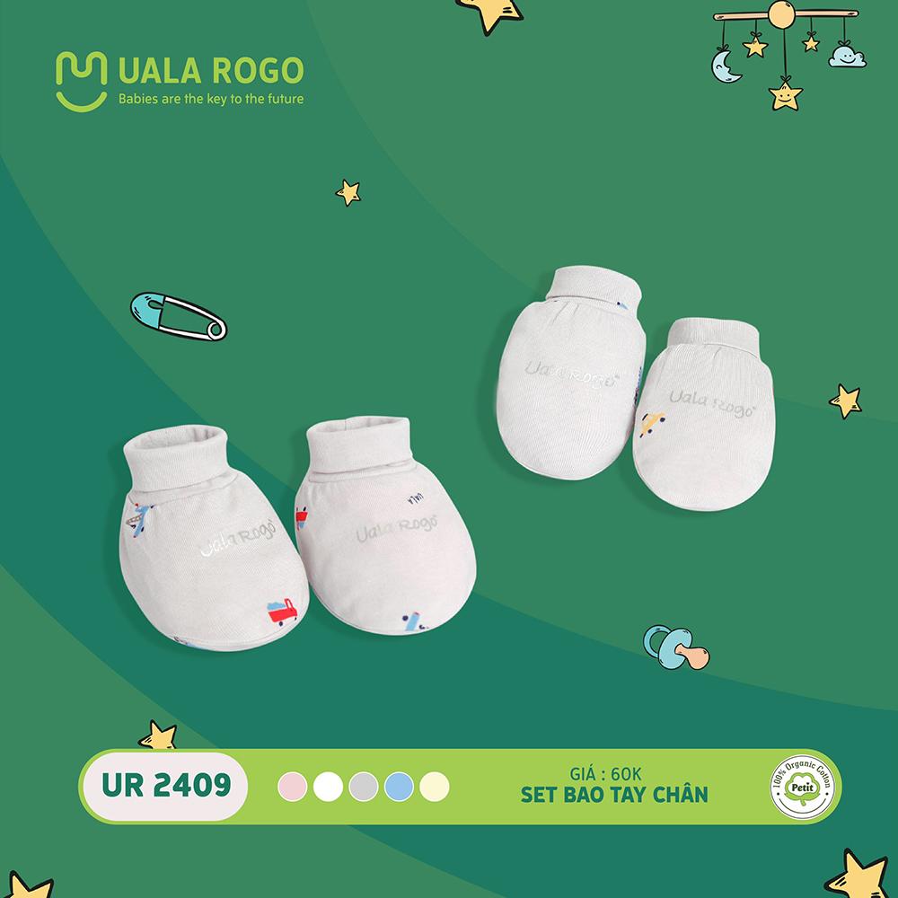 UR2409.3 - Set bao tay bao chân sơ sinh vải petit Uala Rogo - Màu xám