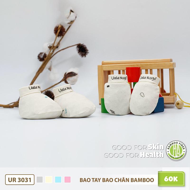 UR3031.2 - Bao tay bao chân sơ sinh Uala Rogo vải sợi tre - Màu Be