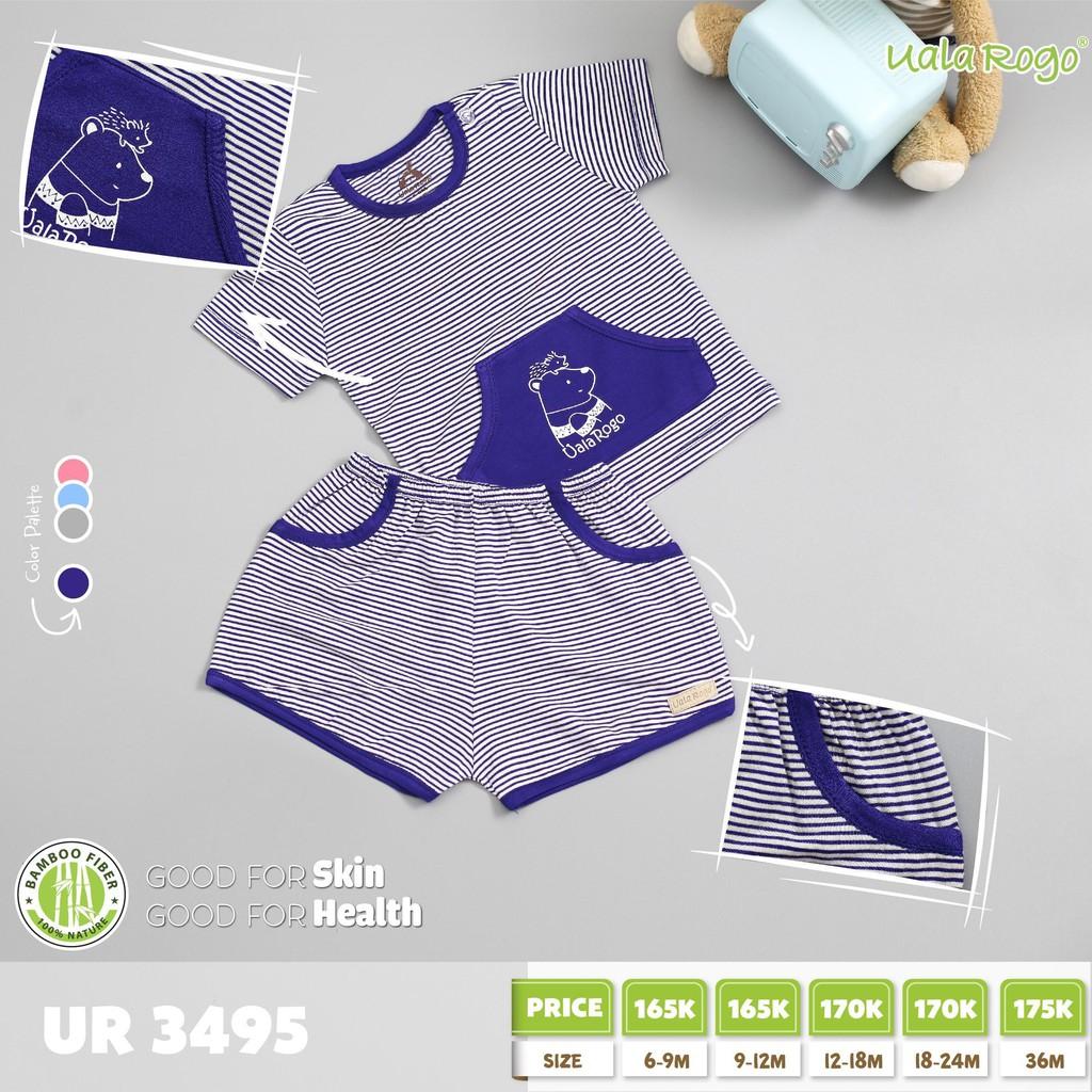 UR3495.4 - Bộ tay ngắn có túi cài nút vai cho bé - Màu xanh đậm