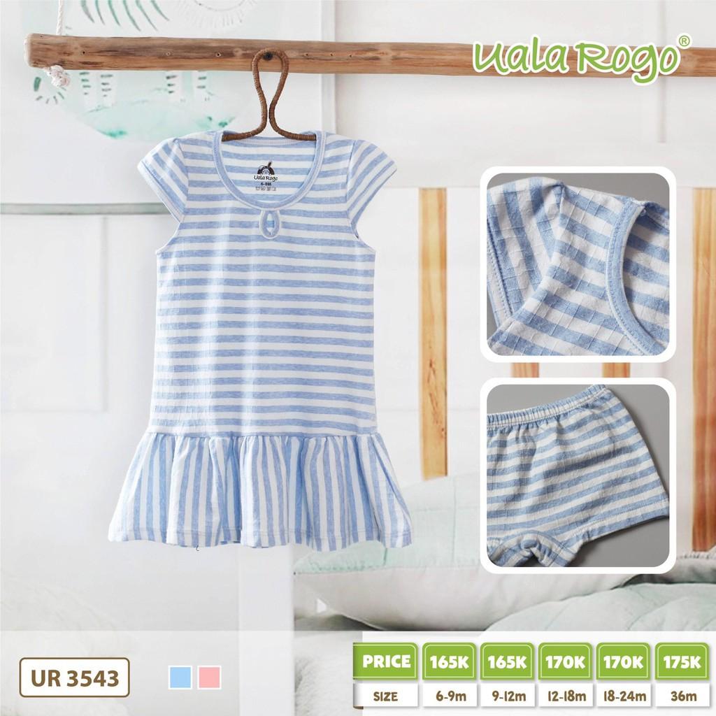UR3543.1 - Đầm váy cho bé gái sọc ngang - Màu xanh