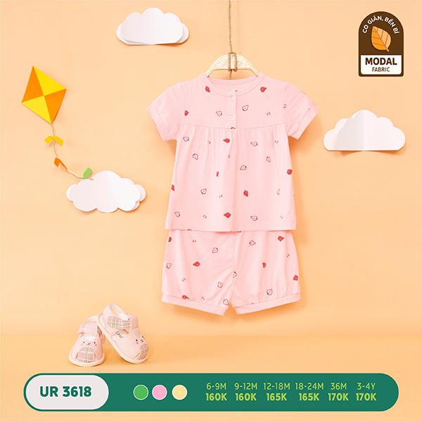 UR3618.3 - Bộ quần áo Uala Rogo cộc tay vải sợi sồi - Màu hồng