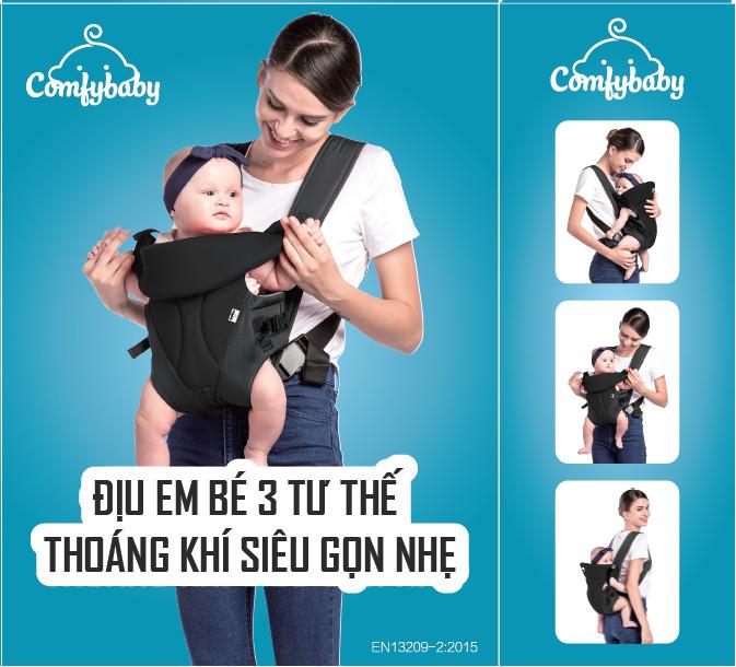 Địu em bé 3 tư thế thoáng khí siêu gọn nhẹ Comfy Baby - BK010 màu ghi