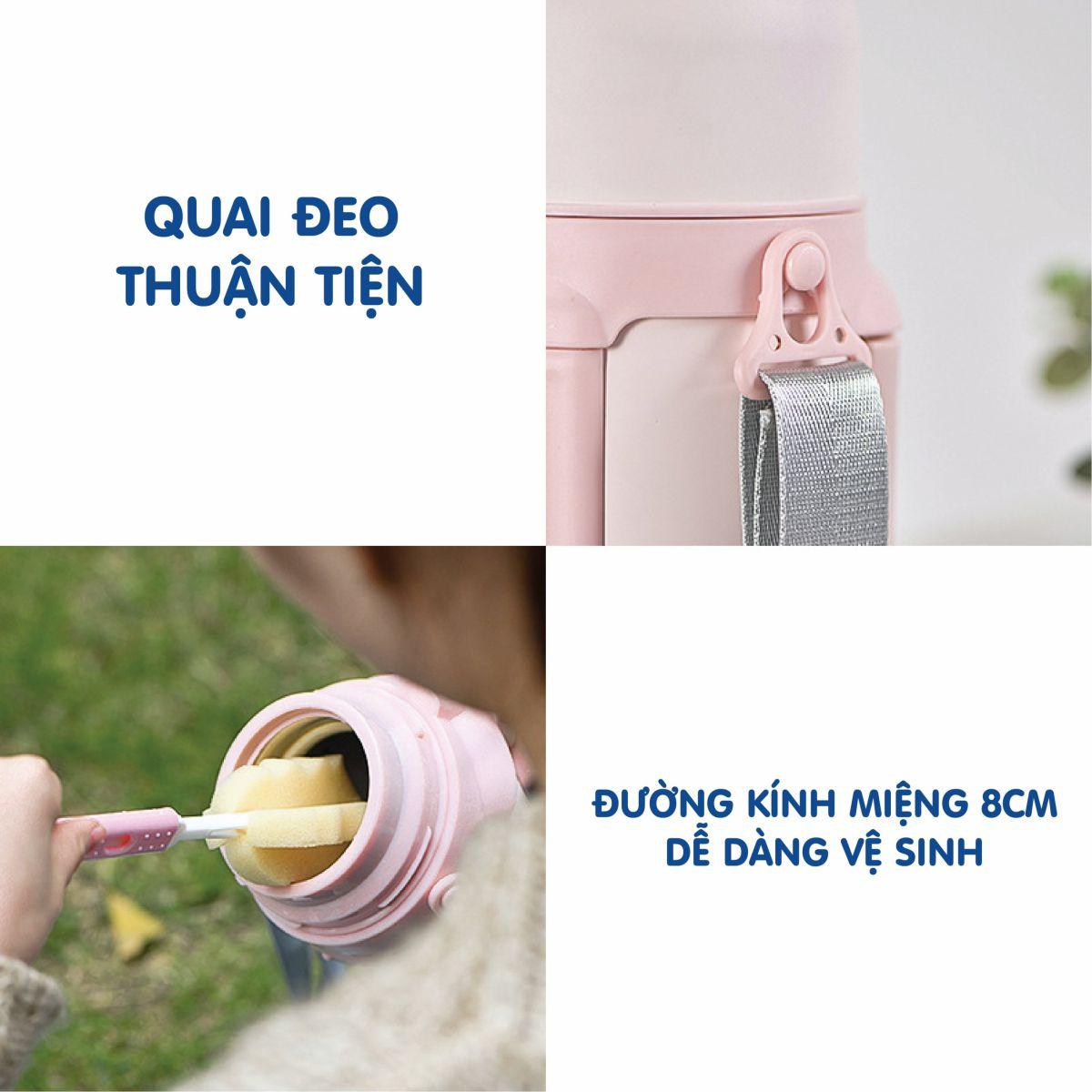 Bình ủ cháo giữ nhiệt Doux màu hồng