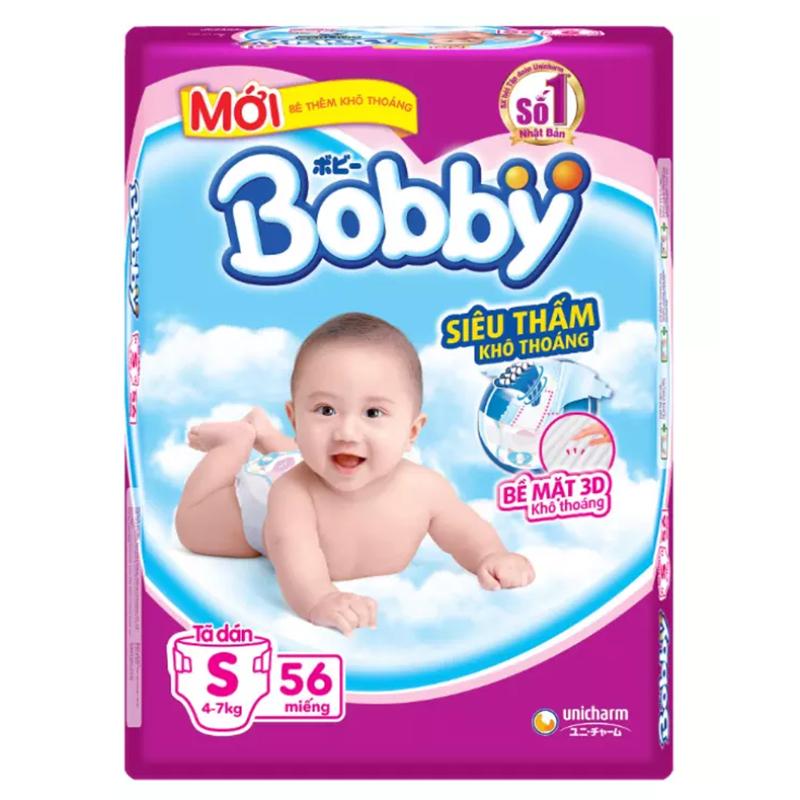 Bỉm - Tã dán Bobby Siêu thấm - Khô thoáng size S - 56 miếng (Cho trẻ 4 - 7kg)