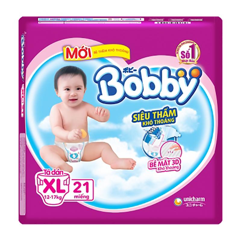 Bỉm - Tã dán Bobby Siêu thấm - Khô thoáng size XL - 21 miếng (12 - 17kg)