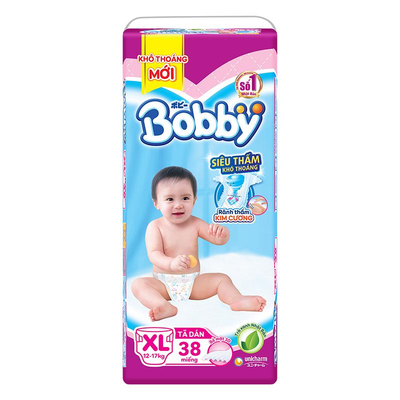 Bỉm - Tã dán Bobby Siêu thấm - Khô thoáng size XL - 38 miếng (12 - 17kg)