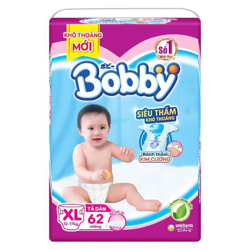 Bỉm - Tã dán Bobby Siêu thấm - Khô thoáng size XL - 62 miếng (12 - 17kg)