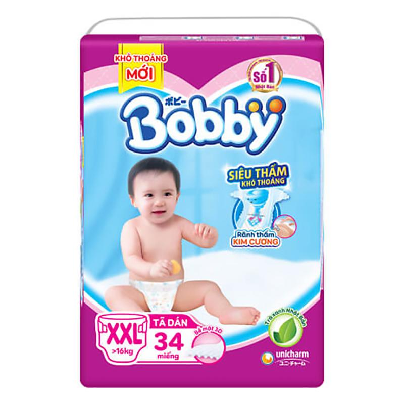 Bỉm - Tã dán Bobby Siêu thấm - Khô thoáng size XXL - 34 miếng (> 16kg)