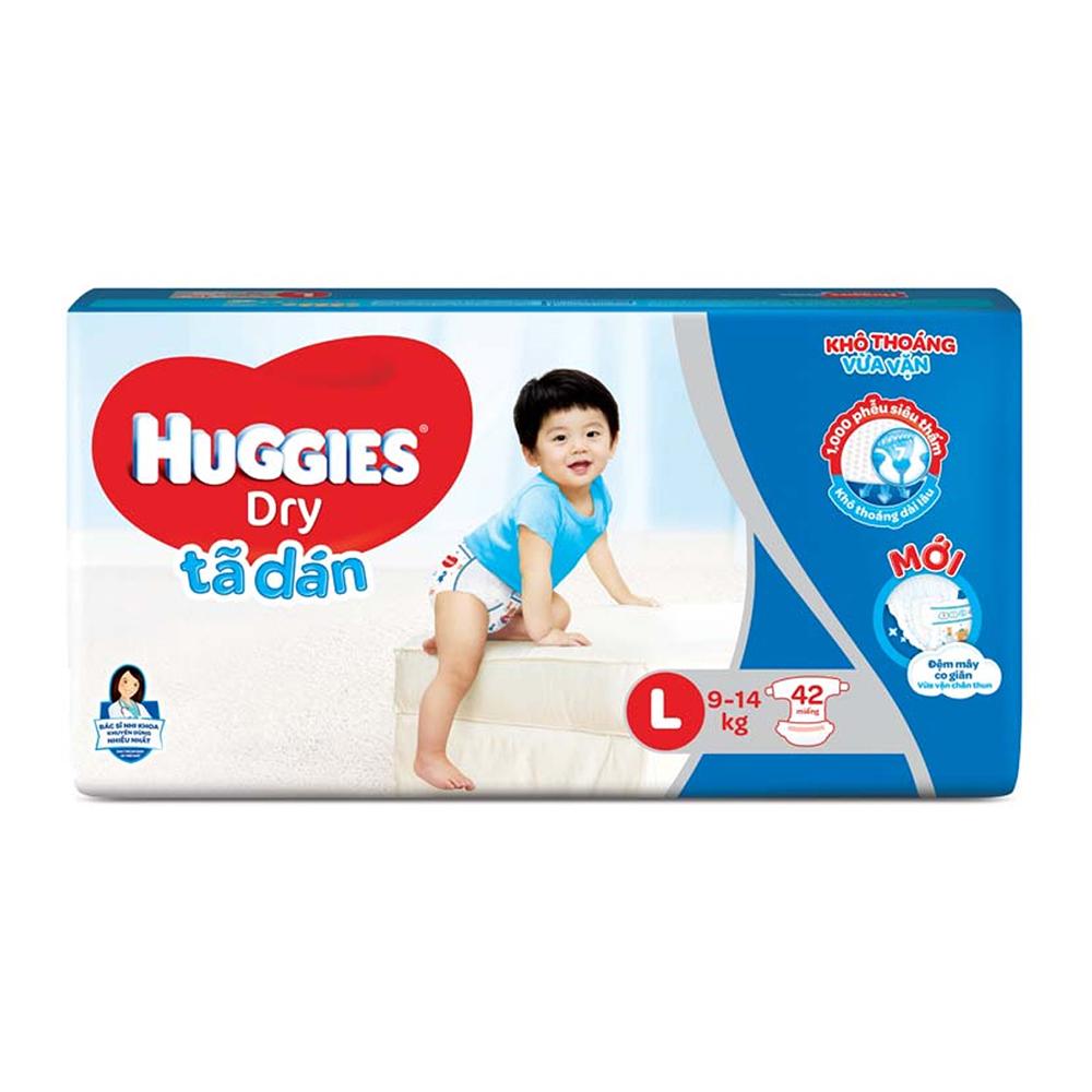 Bỉm - Tã dán Huggies size L - 42 miếng (Cho bé 9 - 14kg)