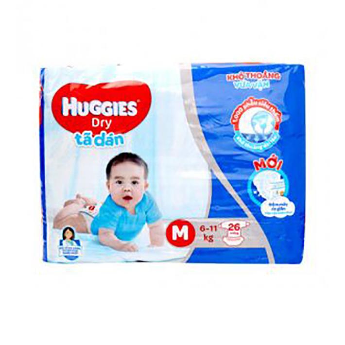 Bỉm - Tã dán Huggies size M - 26 miếng (Cho bé 6 - 11kg)