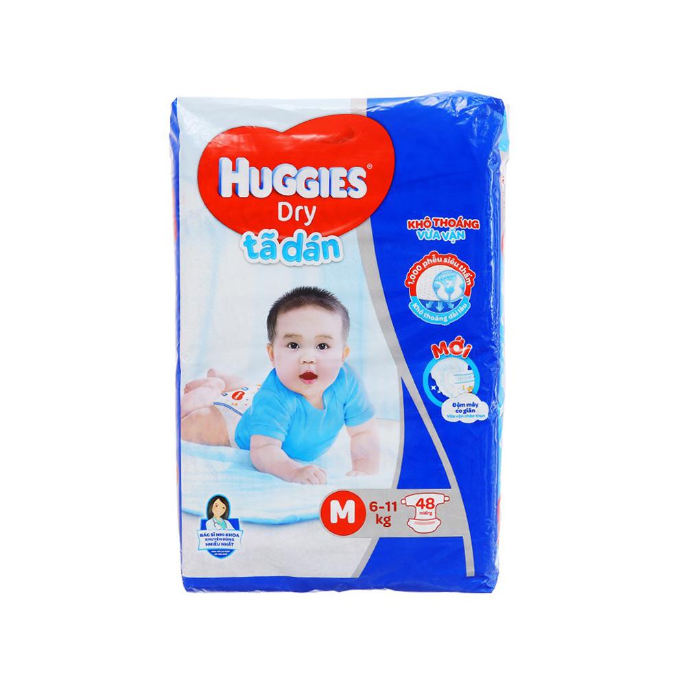 Bỉm - Tã dán Huggies size M - 48 miếng (Cho bé 6 - 11kg)