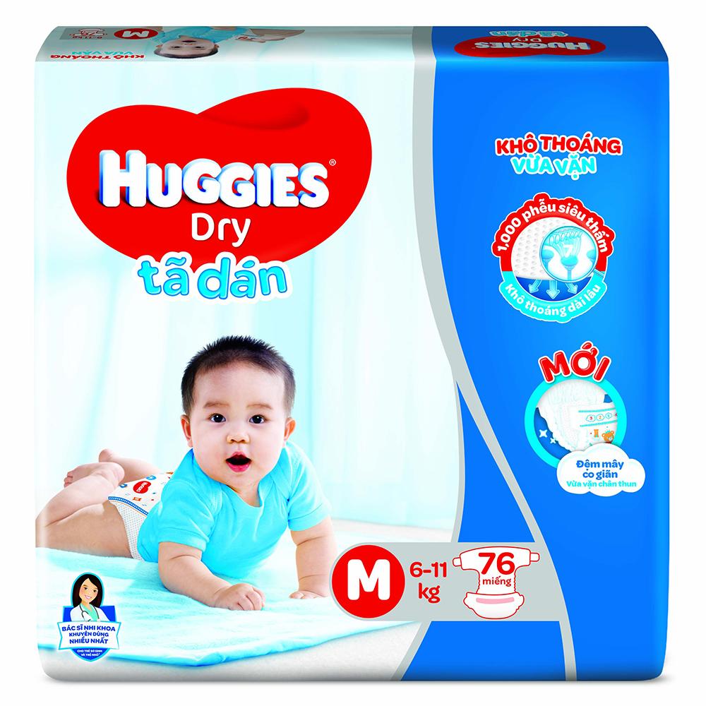 Bỉm - Tã dán Huggies size M - 76 miếng (Cho bé 6 - 11kg)