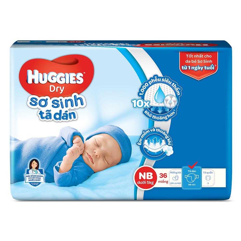 Bỉm - Tã dán sơ sinh Huggies size NB - 36 miếng (Cho trẻ dưới 5kg)
