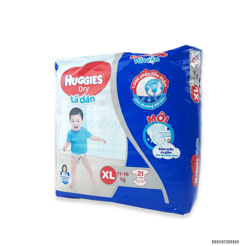 Bỉm - Tã dán Huggies size XL - 21 miếng (Cho bé 11 - 16kg)