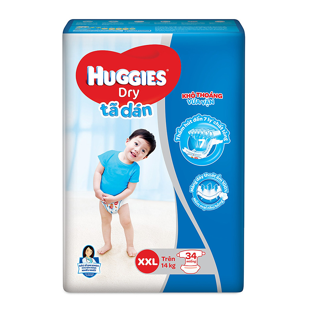 Bỉm - Tã dán Huggies size XXL - 34 miếng (Cho bé trên 14kg)