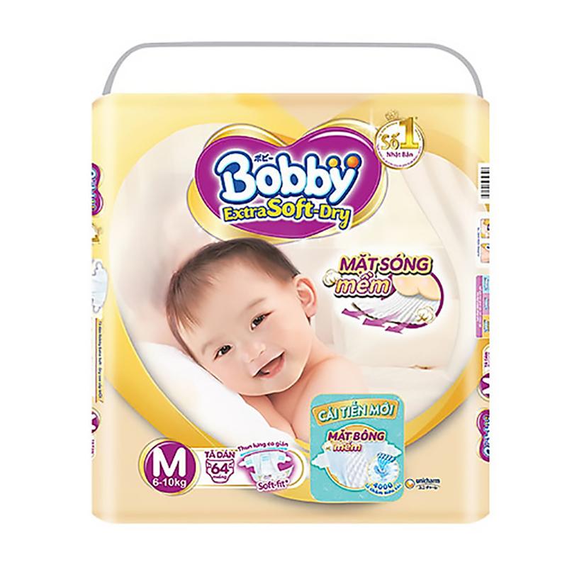 Bỉm - Tã dán cao cấp Bobby Extra Soft-Dry size M - 64 miếng (6 - 10kg)